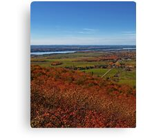 Fields, Meadow. Rural Road & the Ottawa River in a Fall Autumn Landscape under a Blue Sky with Haze Canvas Print