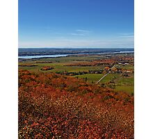 Fields, Meadow. Rural Road & the Ottawa River in a Fall Autumn Landscape under a Blue Sky with Haze Photographic Print