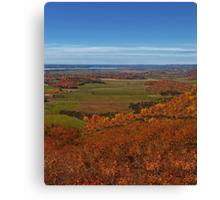 Fall Autumn Season ~ Brush & Orange Leaf Trees on a Hillside w/ Green Field, Meadow & Farmland Canvas Print