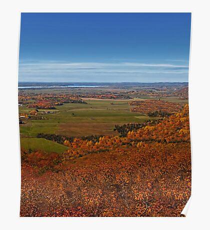 Fall Autumn Season ~ Brush & Orange Leaf Trees on a Hillside w/ Green Field, Meadow & Farmland Poster