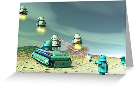 Robot Invasion From Above by mdkgraphics