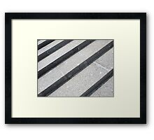 Top view closeup of gray marble step Framed Print