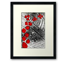 Monotype with Red Framed Print