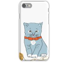Blue Kitten with Orange Bow iPhone Case/Skin