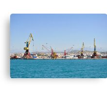 Cranes, loading equipment, port of Heraklion. Canvas Print