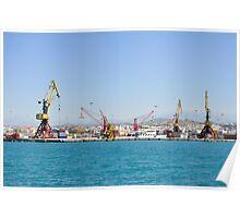 Cranes, loading equipment, port of Heraklion. Poster