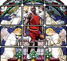 Michael Jordan w/ church glass stained windows by Megaphone Store