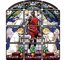 Michael Jordan w/ church glass stained windows Photographic Print