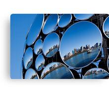 Golden Casket Light Sphere, Brisbane CBD reflection. Canvas Print