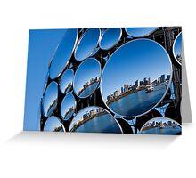 Golden Casket Light Sphere, Brisbane CBD reflection. Greeting Card