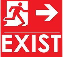 """EXIST"" Existential Signage - STICKER RED by NoirGraphic"