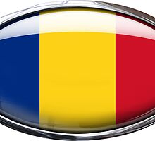 Romania Flag Glass Oval Die Cut Sticker by ukedward