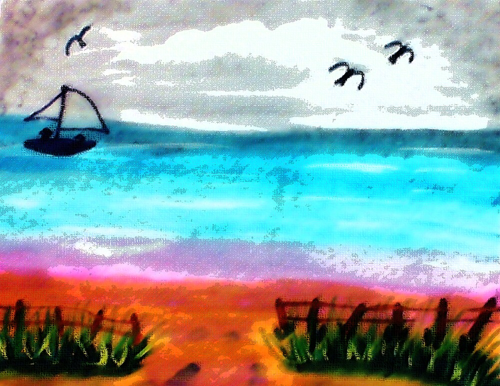Seascape #2, finishd, watercolor by Anna  Lewis, blind artist