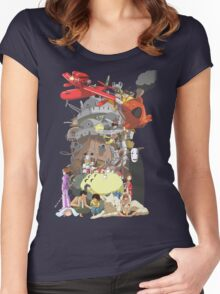 Studio Ghibli Characters Women's Fitted Scoop T-Shirt