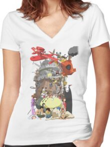 Studio Ghibli Characters Women's Fitted V-Neck T-Shirt