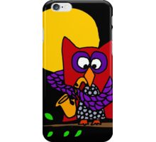 Awesome Red and Blue Owl Playing Saxophone in Moonlight iPhone Case/Skin