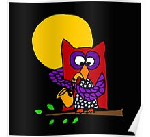 Awesome Red and Blue Owl Playing Saxophone in Moonlight Poster