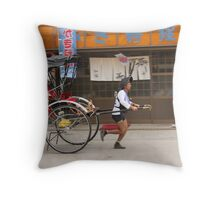Rickshaw man in a hurry Throw Pillow