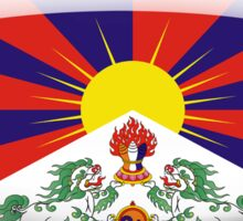 Tibet Flag Glass Oval Die Cut Sticker Sticker
