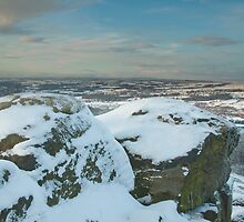 A snowy Wharfedale from Surprise View, Otley Chevin by Stephen Leather