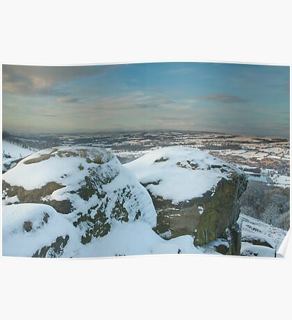 A snowy Wharfedale from Surprise View, Otley Chevin Poster
