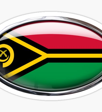Vanuatu Flag Glass Oval Die Cut Sticker Sticker