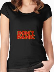 Dont Panic - The Hitchhiker's Guide to the Galaxy Women's Fitted Scoop T-Shirt