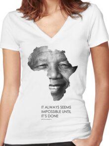Nelson Mandela Africa Women's Fitted V-Neck T-Shirt