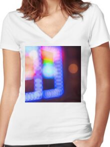 Bokeh Sign Women's Fitted V-Neck T-Shirt