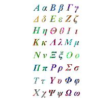 Greek Alphabet White 2 Photographic Print