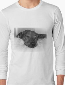 Closeup of Dachshund Sleeping Serenely, Black and White Long Sleeve T-Shirt