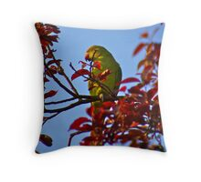 Parakeet in Sunbury Walled Garden Throw Pillow