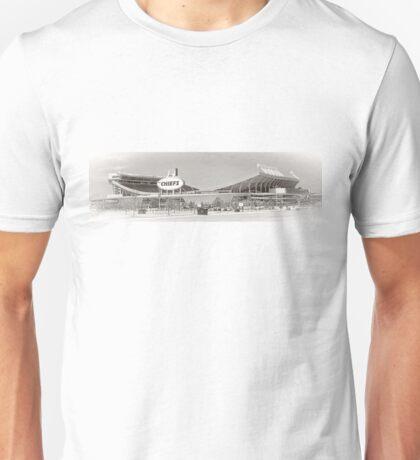 Arrowhead Stadium, Kansas City Chiefs, Tilt-Shift, Black and White Unisex T-Shirt