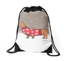 Christmas Dachshund in the Snow Drawstring Bag