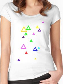 Colourful triangles Women's Fitted Scoop T-Shirt