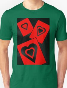 Hearts in Black and Red Variation 2 Acrylic Painting T-Shirt