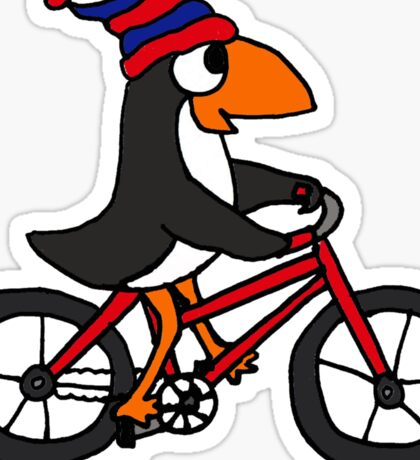 Funny Penguin Riding a Red Bicycle Sticker