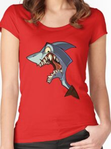 Angry blue shark with shading Women's Fitted Scoop T-Shirt