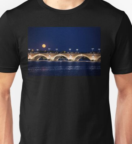 France. Bordeaux. Bridge over Garonne river at Night with Full Moon. T-Shirt