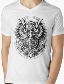 Owl Portrait Mens V-Neck T-Shirt