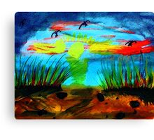 My secret  place to watch a sunset, watercolor Canvas Print