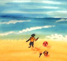 A  day at the beach and dirty already, watercolor by Anna  Lewis