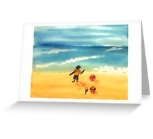 A  day at the beach and dirty already, watercolor Greeting Card
