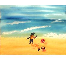 A  day at the beach and dirty already, watercolor Photographic Print