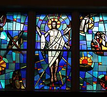 Resurrection of Christ in Stain Glass at Faith Lutheran Church Kent, Ohio by Theodore Kemp