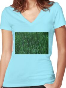 Irish Green Water Droplets Women's Fitted V-Neck T-Shirt