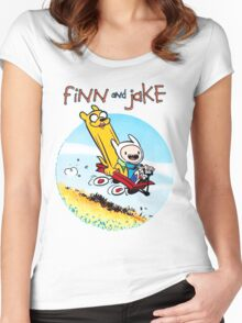 Finn And Jake Adventure Time Women's Fitted Scoop T-Shirt