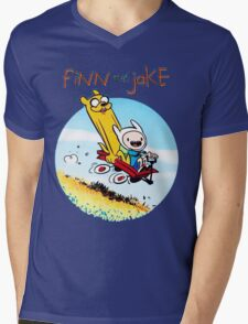 Finn And Jake Adventure Time Mens V-Neck T-Shirt