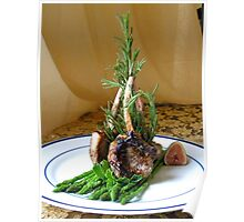 Lamb w Mint Asparagus and Balsamic Fig Reduction Poster
