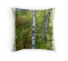 Birches,painted. Throw Pillow